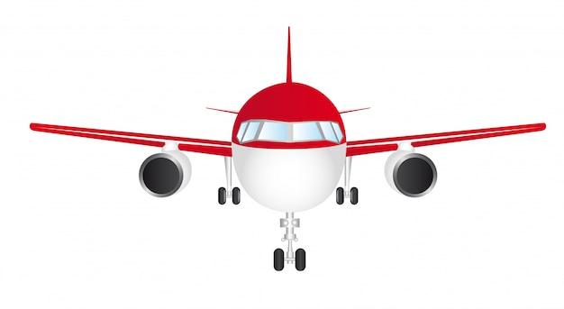 Rotes und weißes vorderes flugzeug getrennt über weißem hintergrundvektor