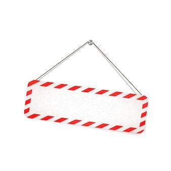 Rotes und weißes warnschild, das am seil auf weiß hängt