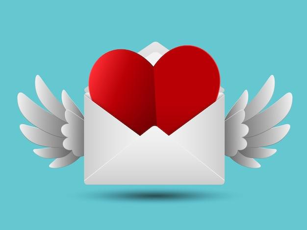 Rotes valentinsgrußpapierherz im weißen umschlag mit flügeln