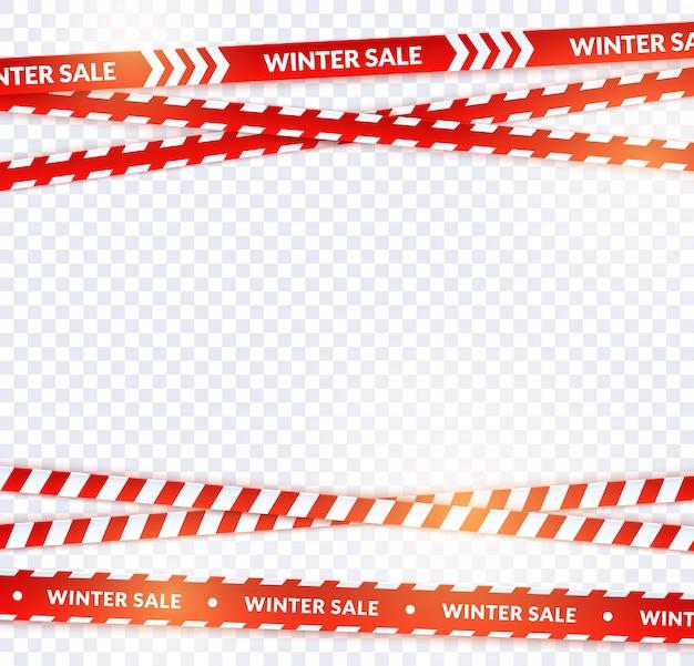 Rotes verkaufsband, winterbänder in der festlichen feiertagsart. horizontales verkaufsrot kreuzte die fahne, die mit lichteffekt für promo, plakat und website eingestellt wurde. vektorkarikaturillustration auf transparentem hintergrund.