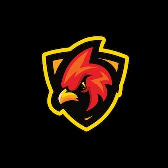 Rotes vogel-esport-maskottchen-logo