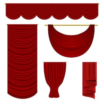 Rotes vorhangset. realistische samttextildekoration pelmet vorhangkollektion. rote vorhänge der luxusoberseite und der seitenbühne inszenieren inneneinrichtung