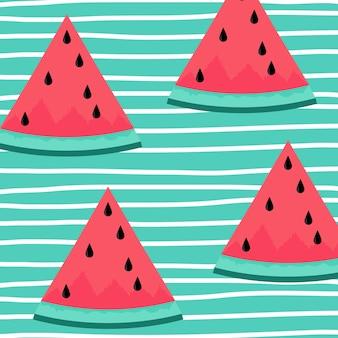 Rotes wassermelonenscheibendesign auf gestreiftem blauem hintergrund