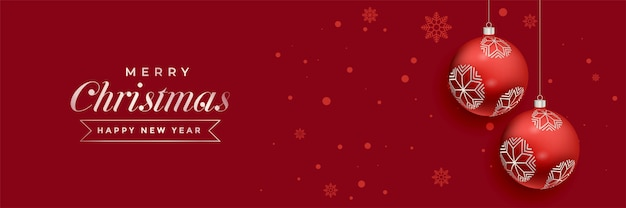 Rotes weihnachtsballdekorations-fahnendesign