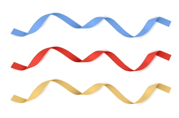 Rotgold und blaue bänder isolierte vektordekoration für geschenkkarten für geschenkboxen oder banner