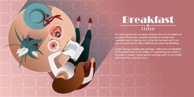 Rothaariges mädchen mit einem buch trinkt morgenkaffee. draufsicht illustration
