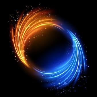 Rotierende mehrfarbige lichter mit isolierten funken und einfach zu bearbeitende vektorillustration