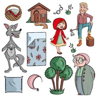 Rotkäppchen märchen auf weißem hintergrund niedlichen cartoon