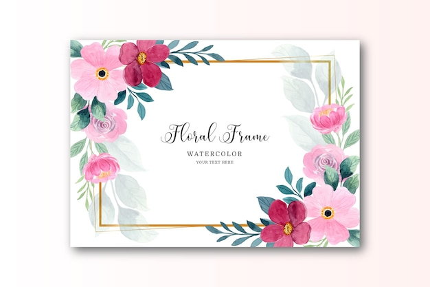 Rotrosa aquarellblumenkarte mit goldenem rahmen