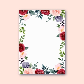 Rotrosa rosenblumenrahmen mit aquarell
