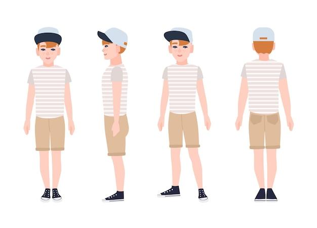 Rotschopf teenager, teenager oder teenager tragen mütze, t-shirt, shorts und turnschuhe. flache zeichentrickfigur auf weiß. vorder-, seiten- und rückansicht. farbige illustration.