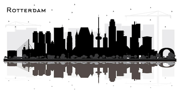Rotterdam niederlande city skyline silhouette mit reflexionen und schwarzen gebäuden, isoliert auf weiss. illustration