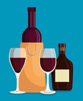 Rotweinflaschen und -becher