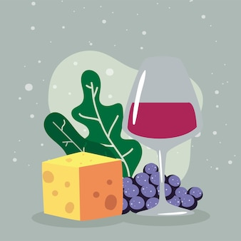 Rotweingläser mit käse und traubenbeeren