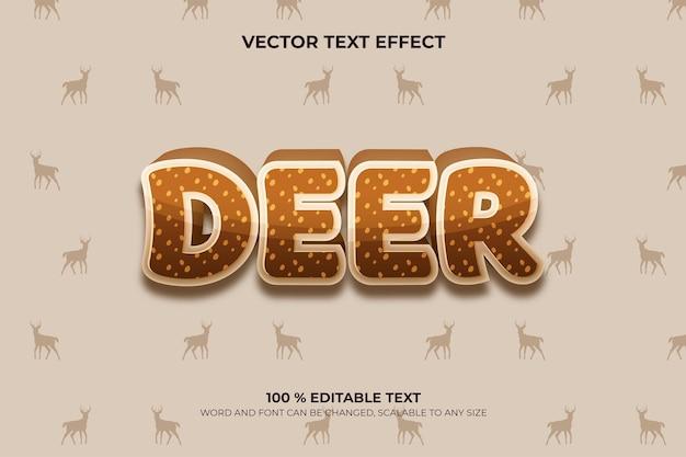 Rotwild bearbeitbarer 3d-texteffekt mit tierhintergrundstil