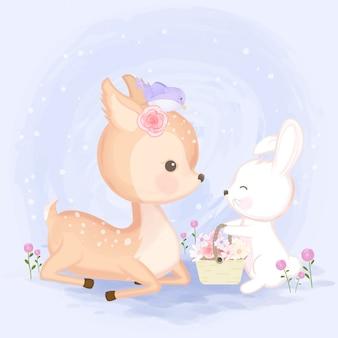Rotwild mit dem kaninchen, das blumenkorb hält