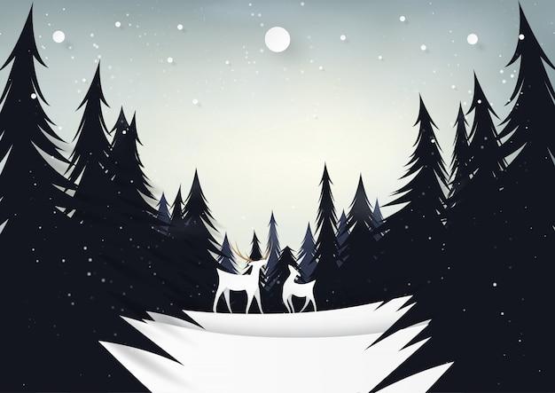 Rotwild und kiefernwald auf nachtwintersaisonlandschaft.