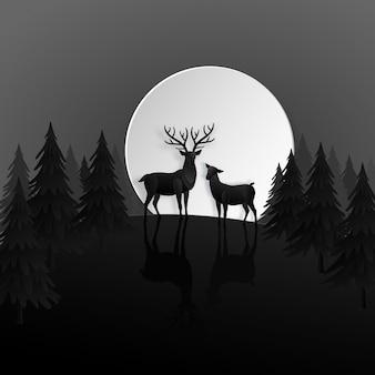 Rotwildfamilie im nachtwald mit mond in der wintersaison. weihnachten, neues jahr