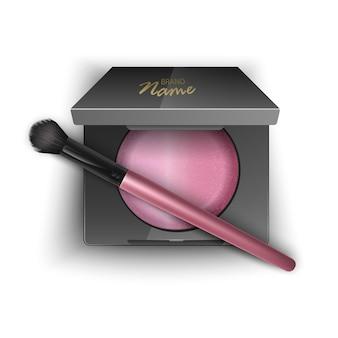 Rouge in rosa farbe, im kunststoffgehäuse in schwarzer farbe mit make-up-pinsel-applikator und spiegel. draufsicht isolierte illustration