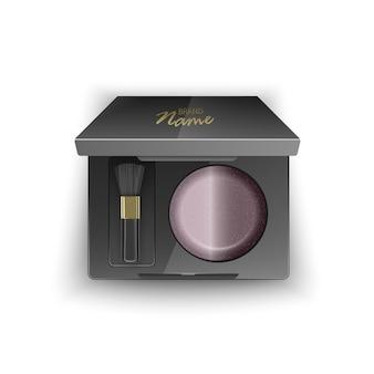 Rouge von brauner farbe, kosmetik für kontur frau gesicht in kunststoffgehäuse von schwarzer farbe mit make-up pinsel applikator und spiegel. draufsicht isolierte illustration
