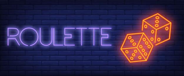 Roulette-neon-text mit würfeln