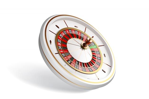 Roulette-rad lokalisiert auf weißem hintergrund.