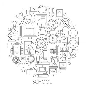 Round line-konzept für zurück in die schule