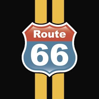 Route 66 label über schwarze hintergrundvektorillustration