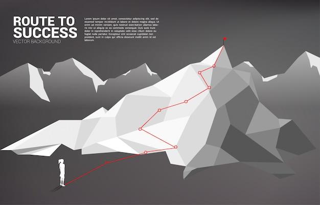 Route zum gipfel des berges Premium Vektoren