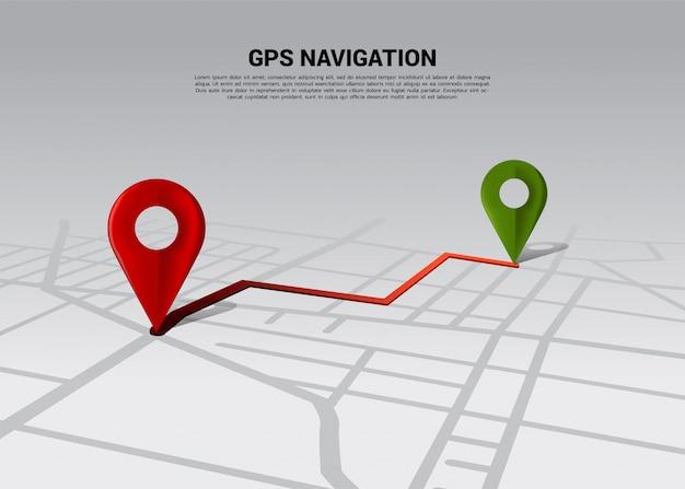 Route zwischen 3d-positionsstiftmarkierungen auf der straßenkarte der stadt. konzept für gps-navigationssystem infografik.