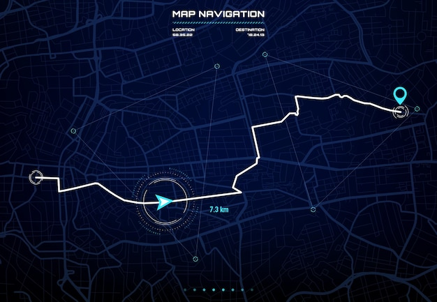 Routen-dashboard mit stadtplan-navigationsschnittstelle. auto-gps-navigationsbildschirm, zukünftige autopilot-systemanzeige mit stadtstraßen und -blöcken, routenentfernungsdaten, wegabbiegungen und zielmarkierung oder -markierung