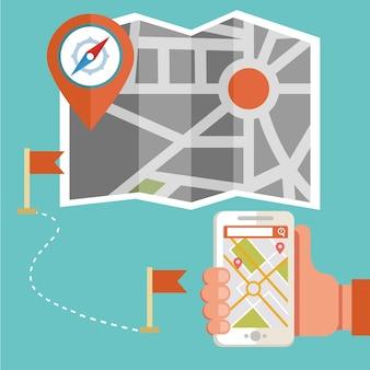 Routenkarte und gps-navigationsgerät