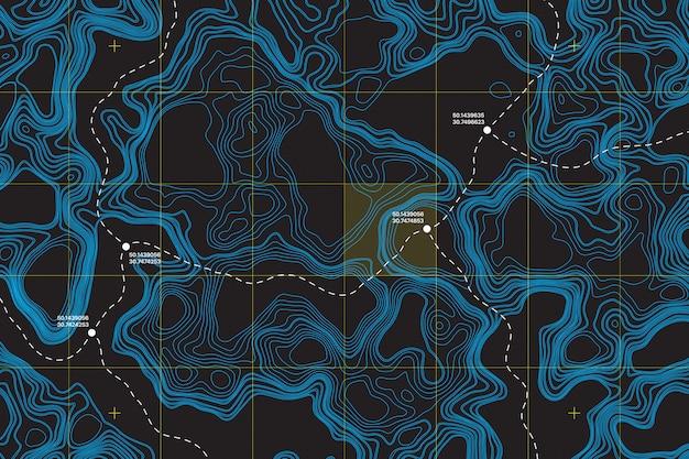 Routenkoordinaten auf abstraktem hintergrund der topografischen karte