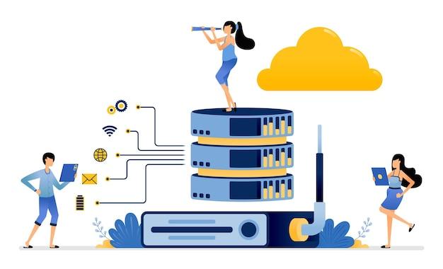 Router-hardware hilft bei der stabilisierung des netzwerks für die speicherung und freigabe über cloud-datenbankdienste