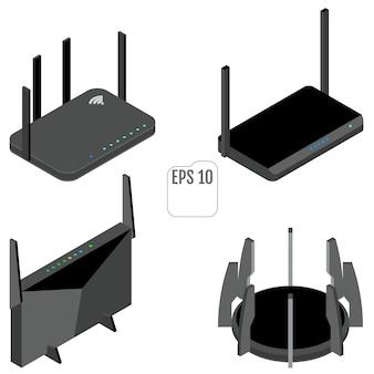 Router isometrische symbole gesetzt. satz von wlan-router-symbolen für das webdesign. isoliert