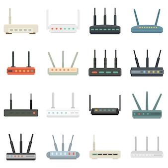 Router-symbole eingestellt. flache reihe von router-vektor-icons isoliert auf weißem hintergrund