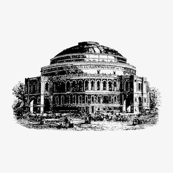 Royal albert hall vintage zeichnung