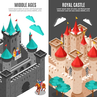 Royal castle vertical banner set