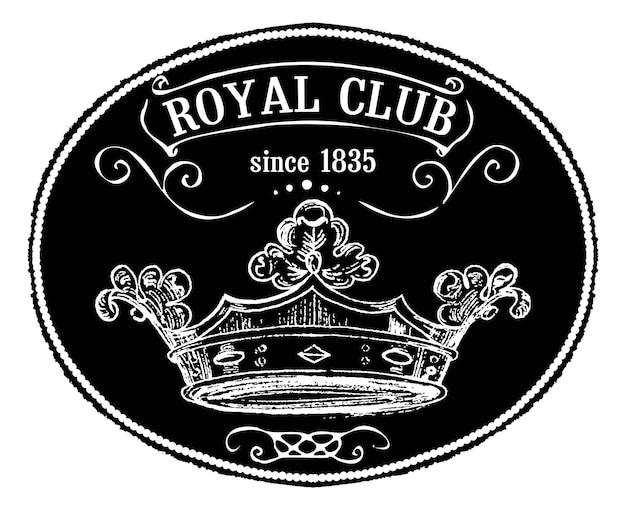 Royal club vintage tag oder emblem mit kreideeffekt