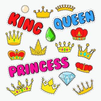 Royal doodle mit set aus goldenen kronen und edelsteinen