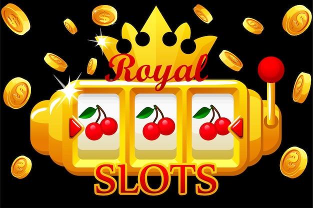 Royal gold slot machine, jackpot-bonusmünzen mit krone für das ui-spiel. vektorillustrationsfahne mit kirschspielautomat für design. explosion von münzen