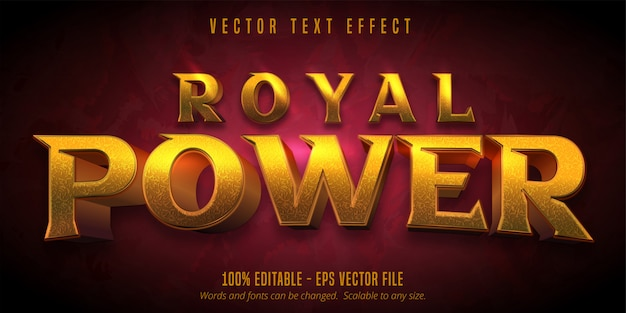Royal power text, goldener bearbeitbarer texteffekt