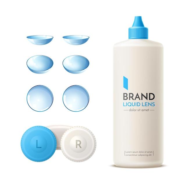 Rrealistischer blauer kontaktlinsenbehälter, silikonlinsen und reinigungslösungsflasche Premium Vektoren