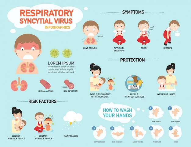 Rsv, respiratorisches syncytial virus infographic, illustration.