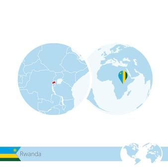Ruanda auf der weltkugel mit flagge und regionaler karte von ruanda. vektor-illustration.