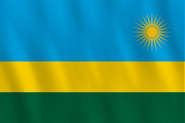 Ruanda-flagge mit wehender wirkung, offizieller anteil.