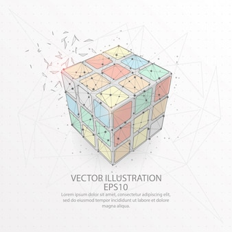 Rubiks würfel bilden ein niedriges poly-drahtmodell