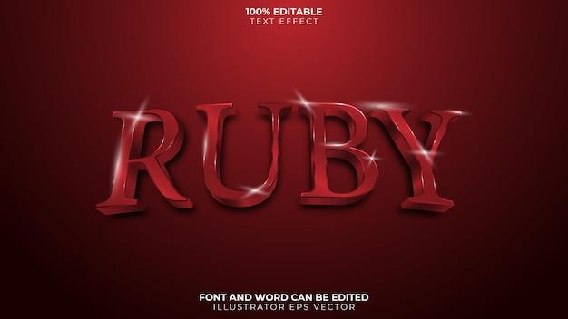 Rubin-text-effekt vollständig editierbarer roter blut-glänzender edelstein