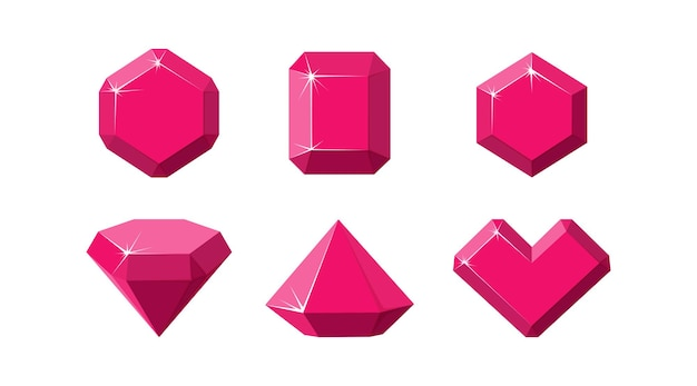 Rubinedelsteine in verschiedenen formen. rote rubinkristalle isoliert in weißem hintergrund