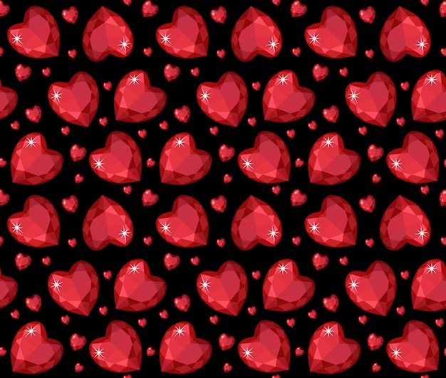 Rubinrotes herz nahtloses muster des schmucks. brillant, edelsteinherzen endloser hintergrund, textur, tapete. valentinstag. illustration.